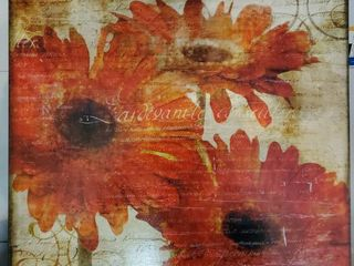 Red Floral with Writing PRINT ON CANVAS