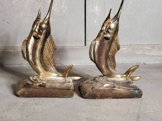 Pair of Brass Swordfish Bookends