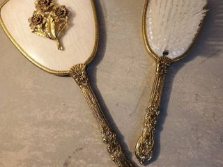 Ornate Brass Hand Mirror and Brush