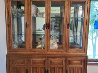 Solid Oak Stanley lighted Display Hutch   Brass Handles   2 Pieces