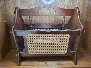 Vintage Magazine Rack with Wicker Sides