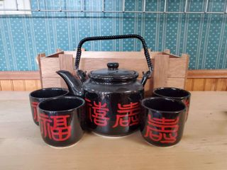 Black Chinese Saki Set in Wooden Crate Carrier