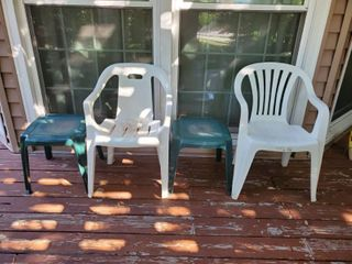 2 White Patio Chairs and 2 Green Patio Side Tables