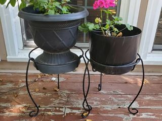 lot of 2 Hard Plastic Planters on Iron Stands