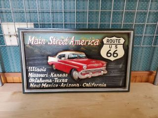 Main Street America Wooden Painted Route 66 Sign