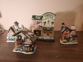 4 Piece Porcelin lighted Houses   lights Not Included