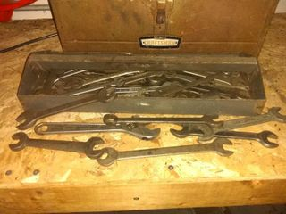 Nice lot Of Vintage Wrenches All Sizes With Tool Box