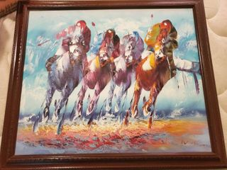Oil Painting of Horse Racing by Work l