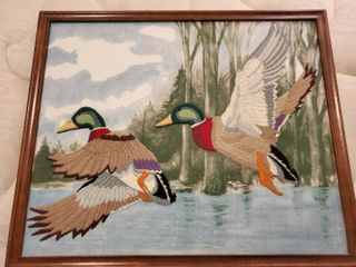 Crewel Cross Stitched Duck Art Framed in Wooden Frame