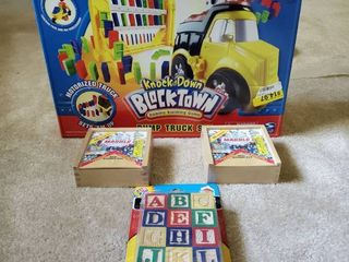 Childrens Toy lot   Marble Sets   Block Town   ABC Blcoks