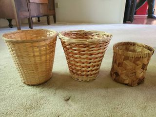 lot of 3 Wicker Trash Cans