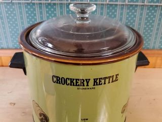 Green Crockery Kettle Stoneware Crockpot  Tested and Working
