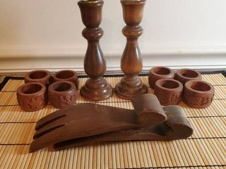 lot of Wood Accessories Candlesticks Napkin Rings Salad Servers