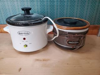 lot of 2 Small Crockpot  Rival Crock ette Slow Cooker and Kitchen Selectives Crockpot  Tested and Working
