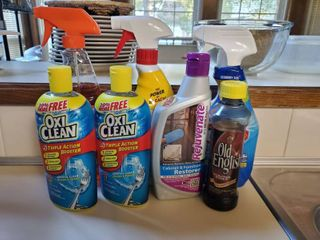 lot of Kitchen Cleaning Supplies