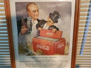Framed Coca Cola Advertisement