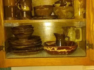 Mega lot Of Cool Brown Ceramic Swirled Patterned Dishes