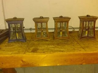 lot Of 4 Cool Outdoor Yard lanterns With Ground Spikes To Hang Them On