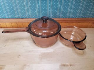 VISION Corning ware Glass Pot with Spout andIJ Pyrex lid and VISION Corning Bowl With Handle