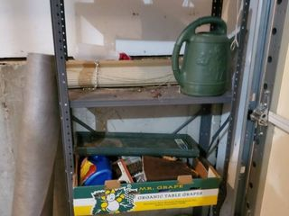 lot of Pots and Yard Tools  Roll of Underlaying and More Shelf Included