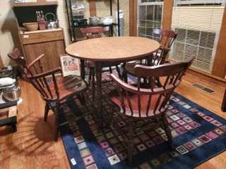 Dinette Table with 4 Chairs   One Needs Repaired   Old Fashion Barrel Chairs