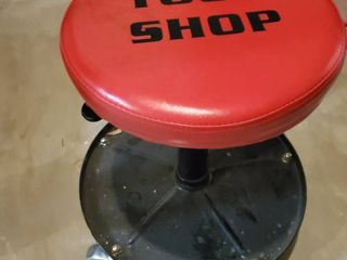 Red Seated Tool Shop Seat with lower Tray and Wheels