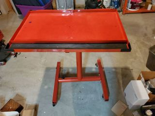 Red Rolling Work Station  With Adjustable Height