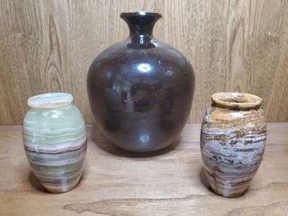 lot of 3 Vases  2 Marble and 1 Ceramic
