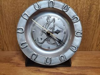 Pewter Horse Plate Clock woth Horseshoe Decor  Needs Battery