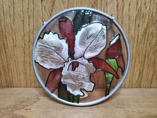 Small Stain Glass Floral Wall Decor