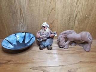 lot of 3   Guitar Playing Cowboy  Ceramic horse and Tin Bowl