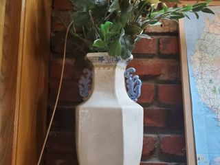 Blue Floral and Cream Colored Crackled Vase  with Faux Flowers