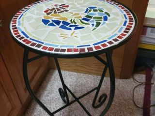 Wrought Iron Tile Top Table With Rooster Design