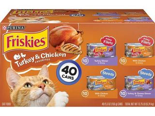 Purina Friskies Gravy Wet Cat Food Variety Pack  Prime Filets   Shreds Turkey   Chicken Favorites    40  5 5 oz  Cans
