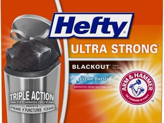 Hefty Ultra Strong Tall Kitchen Trash Bags  Blackout  Clean Burst  13 Gallon  80 Count