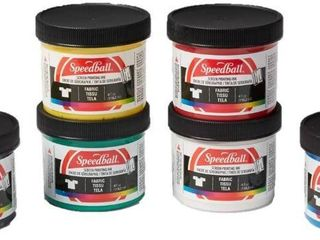 Speedball 4504W Fabric Screenprinting Ink Set  Black  Green  White  Blue  Yellow  Red