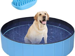 POTBY Foldable Pet Swimming Pool  Portable Collapsible Dog Bathing Tub
