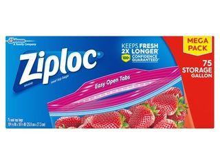 Ziploc Gallon Storage Bags   75ct