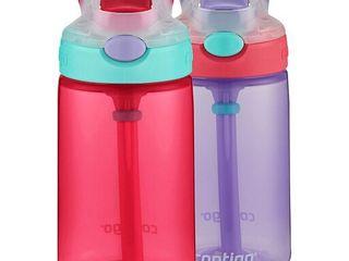 Contigo Kids Gizmo Flip Water Bottles  14oz  French Blue Coral  2 Pack