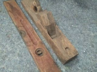 Vintage Wooden level and Planer