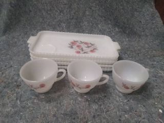 Vintage Glass Serving Trays and Cups