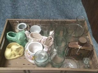 Crate of glass knick knacks  coca cola cups  and milk bottle