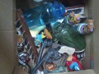Box of vintage toys and more