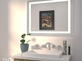 HAUSCHEN 36x28 inch lED Bathroom Wall Mounted Mirror with High lumen CRI 95 Adjustable Color Temperature Anti Fog Dimmer Function IP44 Waterproof Vertical   Horizontal