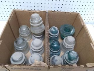 Box of 13 Vintage Glass Insulators