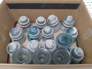 Box of 16 Vintage Glass Insulators