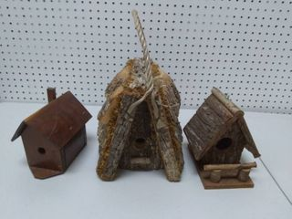 lot of 3 Wooden Birdhouses