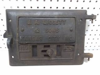 Vintage Cast Iron Stove Door J A  liggett and Sons KC MO