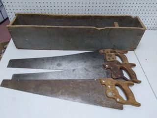 Three Vintage Hand Saws with Storage Box