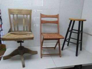 Two Vintage Wooden Chairs and Barstool